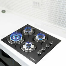 Black 24inch Tempered Glass Built in 4 Burners Gas Cooktop NG LPG Hob Cooktops