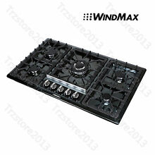 34  Black Titanium Stainless Steel 5 Burner Built In Stove NG LPG Gas Cooktop