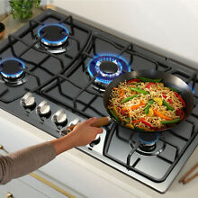 30  Black Titanium Stainless Steel Built In 5 Burners Stove Gas NG LPG Cooktops