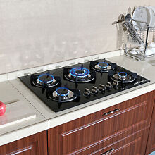 Black 30 inch Tempered Glass Built in 5 Burner LPG NG Gas Hob Cooktops Cook Top