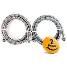 2 Pack Stainless Steel Washing Machine Hoses Burst Proof  6ft Long 2DAY SHIP