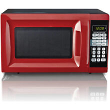 Red Countertop Microwave Oven Small Compact Mini Home Kitchen Dorm Apartment