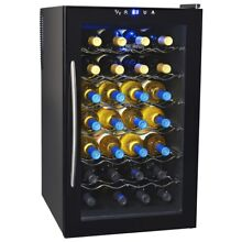Wine Cooler Black 28 Bottle Mini Fridge Glass Door Removable Rack LED Display