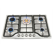 30  Stainless Steel Built in 5 Stoves NG LPG Gas Hob With Gold Burner Cooktops