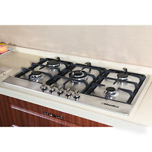 34  Gas Hob Built In 5 Burner Stainless Steel Stove NG LPG Gas Cooker Cook tops