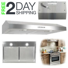 Ducted Under Cabinet Kitchen Vent Cooking Fan Range Hood LED Steel 30 in  250CFM
