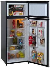 Avanti RA7316PST 2 Door Apartment Size Refrigerator  Black with Platinum Finish