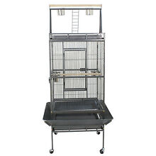 Used 68  Inch Bird Parrot Chinchillas Ferret Cage House w Stand Metal Wheel