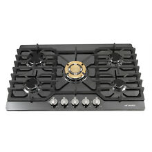 METAWELL 30inch Built in 5 Burner Gas Hob Cooktop with Titanium Stainless Steel