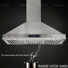 2019 NEW 36  Range Hood Kitchen Under Cabinet Stainless Steel Push Button LED