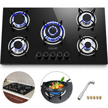 36  Tempered Glass Gas Cooktop 5 Burners Kitchen Cooktop Electric Ignite Black