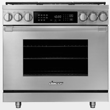 Dacor HDPR36SNG Heritage 36  Stainless Steel Dual Fuel Gas Range with Griddle