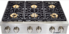 Dacor DYRTP486SLP Discovery 48 Inch LP Rangetop with 6 Sealed Burners Stainless