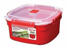 Sistema Microwave Large Red Steamer with Removable Steamer Basket  3 2 Ltr New