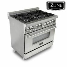ZLINE 36  Professional Stainless Steel 4 6 cu ft  6 Gas On Gas Oven Range RG36