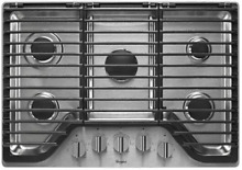 Whirlpool WCG97US0DS 30 Inch 5 Burner Gas Cooktop in Stainless Steel