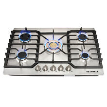 METAWELL Stainless Steel 30  Gas Cooktops 5 Burner Built in Stoves Gas Hob US