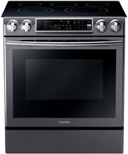 SAMSUNG 5 8 Cu  Ft  Slide in Electric Range with Dual Convection   Black Steel