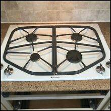 Jenn air  cooktop  four gas burners  white  gray  black  used  well kept  solid