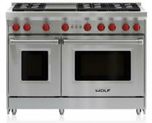 NIB Wolf 48  Pro Style Gas Range 6 Dual Stacked Sealed Burners W Griddle GR486G