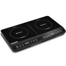 Double Countertop Burner Digital Induction Cooker Stainless Steel 1800W Black