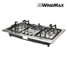 Euro Style 28 inch Stainless Steel 3 Burner Built In Stove NG Gas Cooktop Cooker