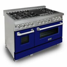 ZLINE 48  DUAL FUEL RANGE OVEN GAS ELECTRIC MATTE BLUE DOOR RAS BM 48