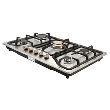 30 inch Stainless Steel Gold Gas Cooktop Built In 5 Burner Kitchen Cooker   USA