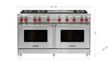 WOLF 60  Gas Range 6 Burners Infrared Dual Griddle Stainless   GR606DG