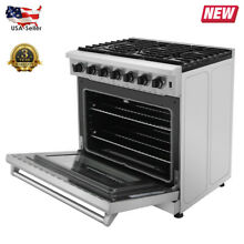 36 Inch Stainless Steel Gas Range 6 Burners Cooker Oven Cooktop Halogen Light US