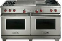 Wolf 60  4 5 cu ft 4 Sealed Burners French Top Pro Style Dual Fuel Range DF604GF