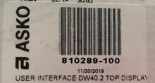 ASKO UPPER USER INTERFACE DW40 2 TOP DISP PN 810289 100 OEM BRAND NEW