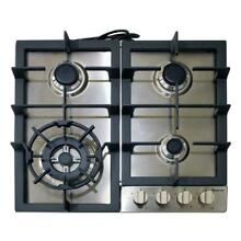 Magic Chef Gas Cooktop 24 in  Sturdy Cast Iron Stainless Steel  4 Burner  New
