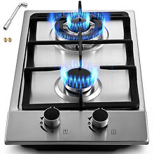 12  2 Burners Gas Cooktop Stainless Steel iron grates Double Oven Durable Knob