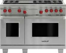 Wolf 48  Stainless Steel Dual Fuel Convection Range 6 Burner  Griddle DF486G