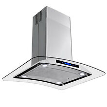 30  Island Range Hood Removable Grease Filter Kitchen Fan with LED Touch Screen