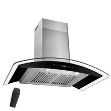 30  Wall Range Hood  Stainless Steel Kitchen Fan Design Black LED Touch Panel
