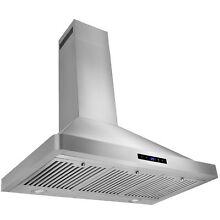 36  Wall Mount LED Display Touch Control Range Hood Kitchen Cooking Fan Vent