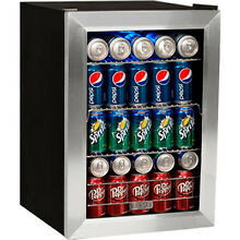 84 Can Glass Door Beverage Cooler Refrigerator  Compact Drink   Wine Mini Fridge