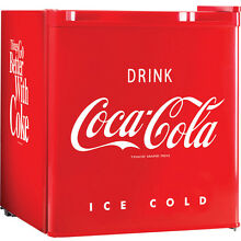 Coca Cola Mini Fridge w  Small Top Freezer  Compact Food   Beverage Refrigerator