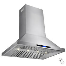 48  Stainless Steel Wall Mount Range Hood Touch Control Halogen Light