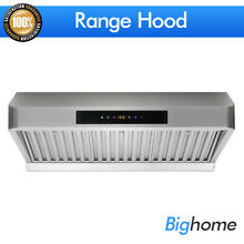 Big Fan Under Cabinet 30  Range Hood Touch Sensor Stainless Steel Baffle Stove