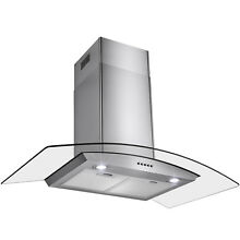 36  Stainless Steel Wall Mount Range Hood Push Button LED Light Lamp Mesh Filter