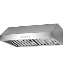 Seamless Stainless Steel Under Cabinet Stove 30  Range Hood LED 500CFM Vented