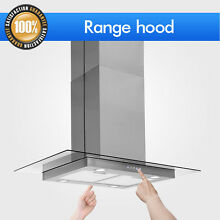 36  Control Stainless Steel Electronic Glass Island Mount Range Hood Panel Dual