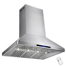 48  Stainless Steel Island Mount Range Hood Dual Motor Touch Screen Display Fan