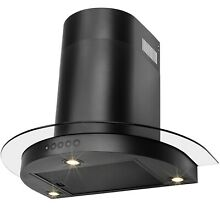 30  Modern Black Stainless Steel Wall Mount Range Hood Push Button Control Fan