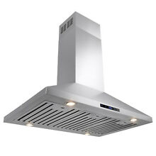 36 Island Mount Style Classical Stainless Steel Touch Control Range Hood Fan