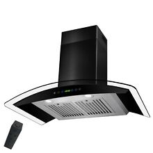 36  Modern Wall Mount Black Painted Finish Stainless Steel Range Hood Fan