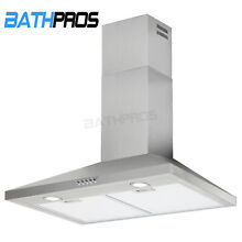 Kitchen Panel Range Hood Stove 30  Stainless Steel Wall Mount Electronic Switch